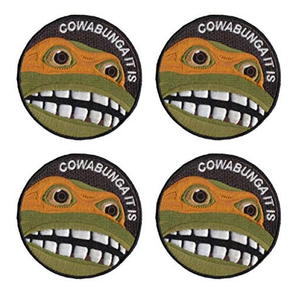Janhop Airsoft Morale Patch 1 4PCS Teenage Mutant Ninja Turtles Tactical Hook-Backed Morale Patch, 3Inch