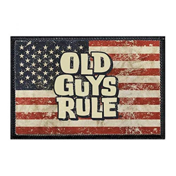 P PULLPATCH Airsoft Morale Patch 1 Old Guys Rule - American Flag Morale Patch | Hook and Loop Attach for Hats, Jeans, Vest, Coat | 2x3 in | by Pull Patch