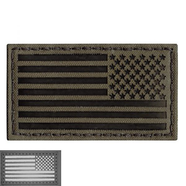 Tactical Freaky Airsoft Morale Patch 6 Ranger Green Infrared IR USA American Reversed Flag 3.5x2 IFF Tactical Morale Touch Fastener Patch