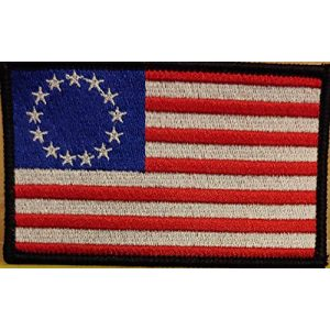 Fast Service Designs Airsoft Morale Patch 2 Betsy Ross with White Stars Flag Embroidered Patch with Hook & Loop Tactical Morale USA Patch Black Border