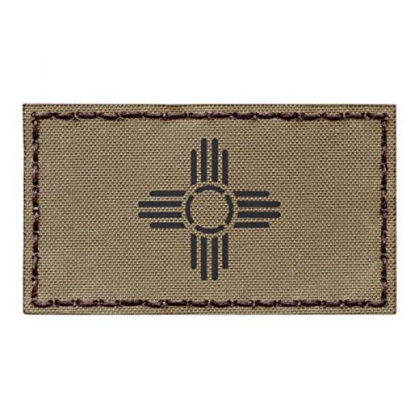 Tactical Freaky Airsoft Morale Patch 1 IR Tan New Mexico Zia Sun Flag Coyote Brown 2x3.5 Infrared IFF Tactical Morale Touch Fastener Patch