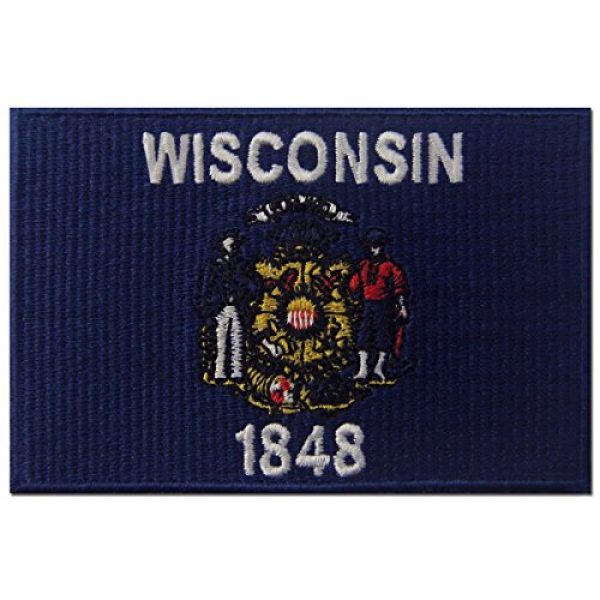 EmbTao Airsoft Morale Patch 1 Wisconsin State Flag Embroidered Emblem Iron On Sew On WI Patch