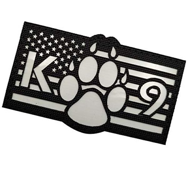 APBVIHL Airsoft Morale Patch 6 Glow in Dark USA Flag K9 Dog Handler Paw K-9 Tactical Morale Fastener Patch, Hook and Loop Backing for Harness Vest, Bundle 2 Pieces, 3.54 x 2.17 Inch