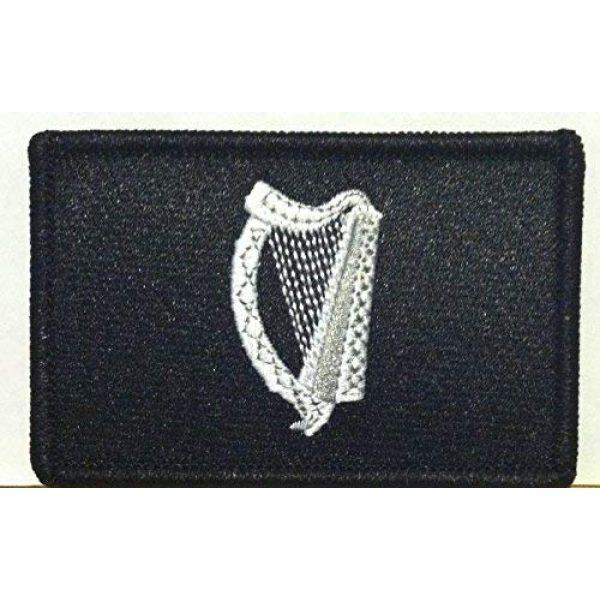 Fast Service Designs Airsoft Morale Patch 1 Irish Ireland Flag Embroidered with Hook & Loop Patch MC Biker Morale Tactical Shoulder Black & White Emblem Black Border #05