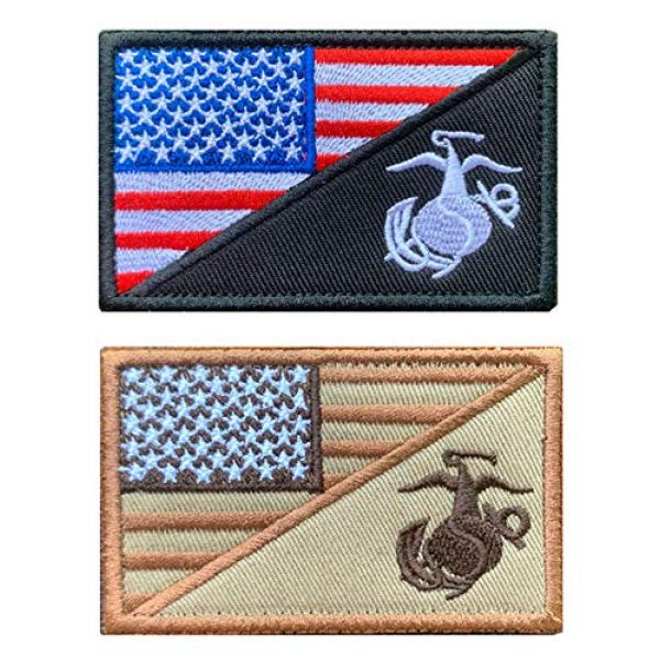 Antrix Airsoft Morale Patch 1 Antrix 2 Pcs American Flag/US Marine Corps USMC U.S Armed Forces Embroidered Military Patches Hook & Loop Emblem Badge for Hats Backpacks Bags Jackets