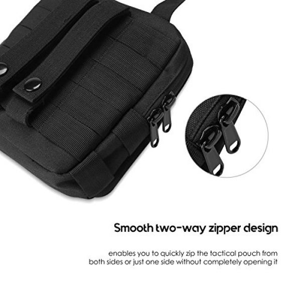 ProCase Tactical Pouch 6 ProCase Tactical MOLLE Pouch, Compact EDC Military Admin Utility Gadget Waist Bag Water-Resistant Multi-Purpose Gear Tool Map Organizer EMT Medical First Aid Kit -Black