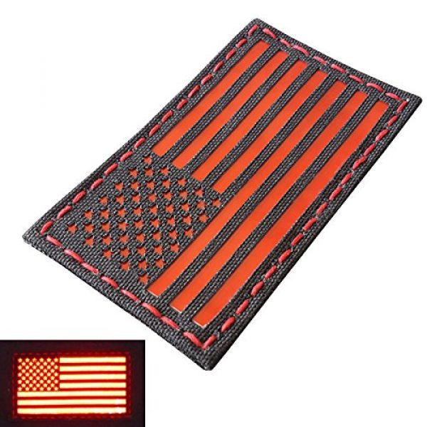 Tactical Freaky Airsoft Morale Patch 3 Reflective Red 3.5x2 USA American Flag Tactical Morale Uniform Fastener Patch