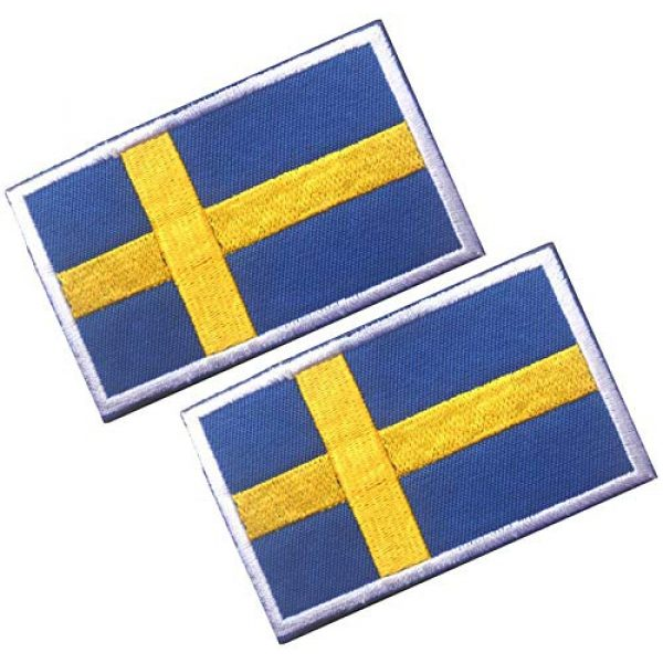 HFDA Airsoft Morale Patch 1 HFDA 2 Piece Different Country Flags Patch - Tactical Combat Military Hook and Loop Badge Embroidered Morale Patch (Sweden 2)