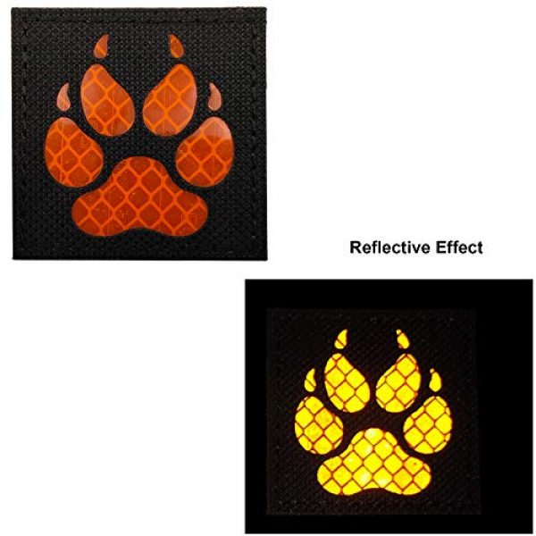 APBVIHL Airsoft Morale Patch 2 Reflective Infrared IR K9 Dog Handler Paw K-9 2x2 Tactical Morale Hook and Loop Fastener Patches