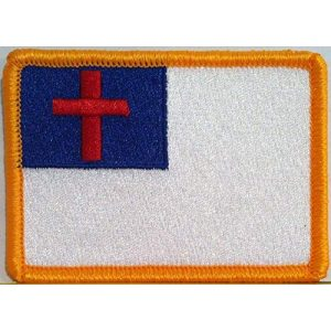 Fast Service Designs Airsoft Morale Patch 1 Christian Flag Patch with Hook & Loop MC Biker Morale Tactical Shoulder Emblem #568