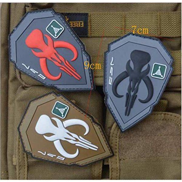 Zhikang68 Airsoft Morale Patch 4 Mandalorian Patch Mythosaur Skull Crest Shield Bounty Hunter Boba Fett Tactical Military Morale 3D PVC Rubber Armband Badge Emblem Applique (Red)