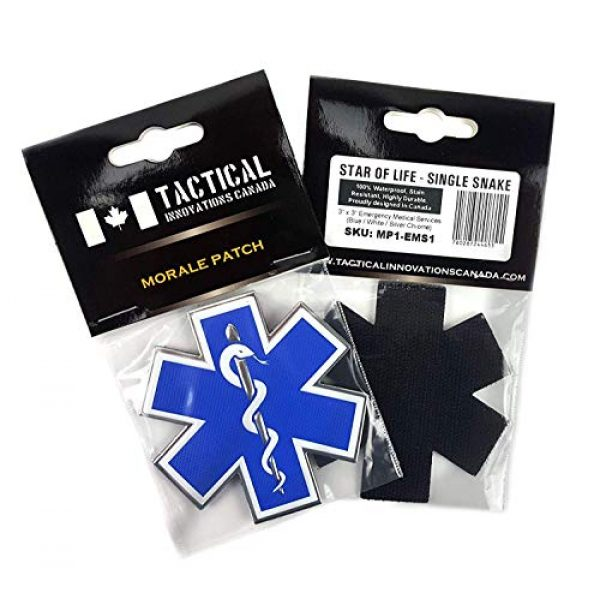 """Tactical Innovations Canada Airsoft Morale Patch 4 PVC Morale Patch - EMS - Medical Responder 3"""" Star of Life - Single Snake - Blue/White/Silver"""