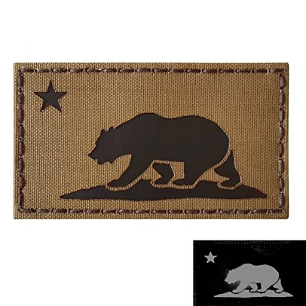 Tactical Freaky Airsoft Morale Patch 3 Coyote Brown Infrared IR California Republic State Flag 3.5x2 Tan Arid IFF Tactical Morale Touch Fastener Patch