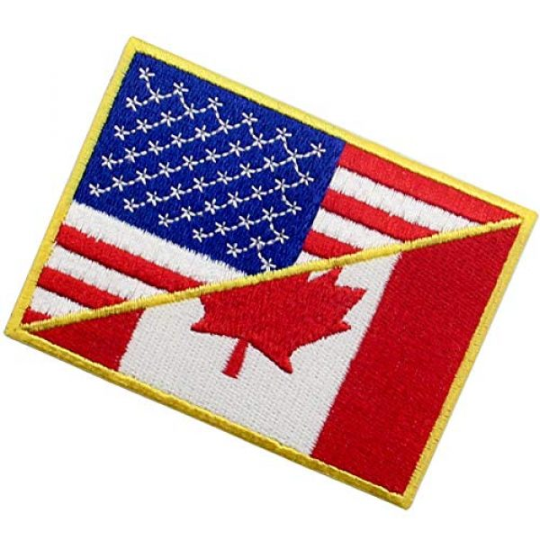 EmbTao Airsoft Morale Patch 4 USA American United State Canada Flag Patch Embroidered Applique Iron On Sew On Emblem, Red & Black