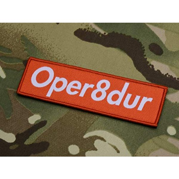 BritKitUSA Airsoft Morale Patch 2 Oper8dur Woven Morale Patch Supreme Parody Milsim Larperator LARP Operator Hook and Loop Backing