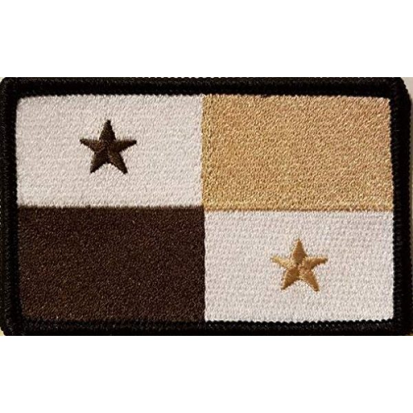 Fast Service Designs Airsoft Morale Patch 1 Panama Flag Embroidered Patch with Hook & Loop Morale Tactical Emblem Black Border (Brown, White & Tan Version #5)