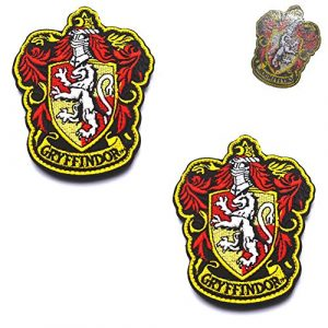 "ODSP Airsoft Morale Patch 7 Harry Potter House of Gryffindor House Hogwarts Crest Full Color Iron-On Embroidered Patches, Tactical Military Morale Emblem Patch Set Appliques Badge for Coat Jacket Hat Backpack 3.94""x3.15"" 2PCS"