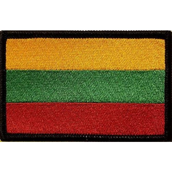 Fast Service Designs Airsoft Morale Patch 1 Lithuania Flag Embroidered Patch with Hook & Loop Morale Tactical Emblem Black Border