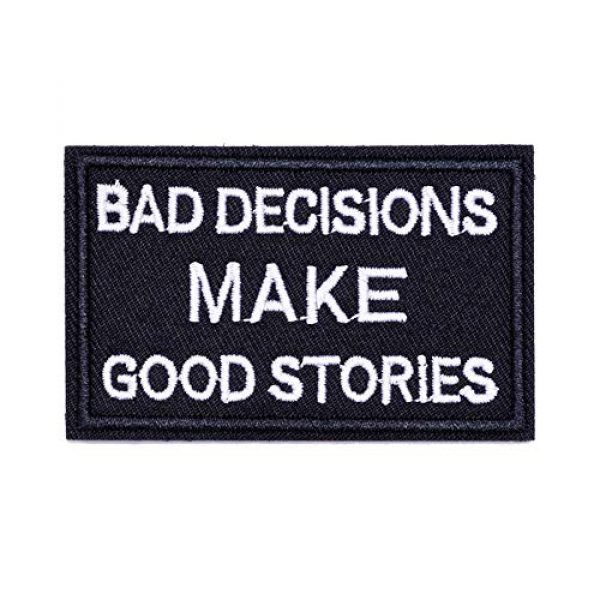 ZHDTW Airsoft Morale Patch 1 ZHDTW Tactical Morale Decorative Patches Letter with Hook Loop Bad Decision Makes Good Stories (DT044)