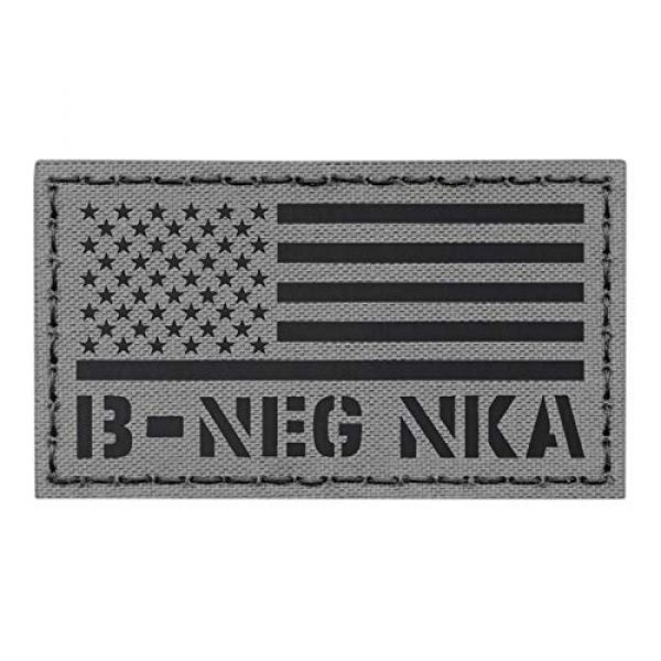 Tactical Freaky Airsoft Morale Patch 1 IR Wolf Grey USA Flag BNEG B- Blood Type NKA NKDA Gray Tactical Morale Hook&Loop Patch