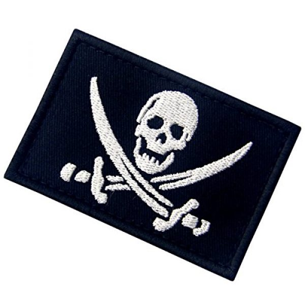 EmbTao Airsoft Morale Patch 4 Pirate Flag Military Morale Fastener Hook & Loop Patch - White & Black