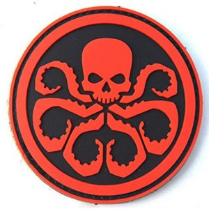 Tactical PVC Patch Airsoft Morale Patch 1 Hydra Marvel Comics Marvel Avengers Superhero Morale Military Patch 3D PVC Rubber Tactical Rubber Hook Patch (red)