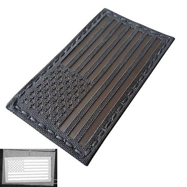 Tactical Freaky Airsoft Morale Patch 3 Blackout Infrared IR USA American Flag 3.5x2 IFF Tactical Morale Hook&Loop Patch