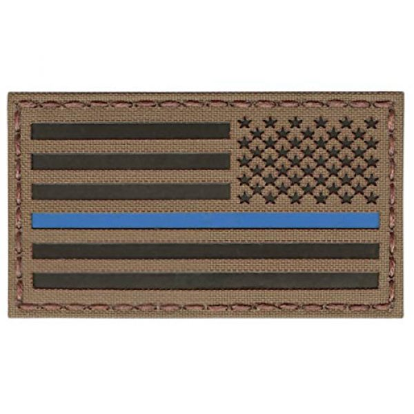 Tactical Freaky Airsoft Morale Patch 1 Coyote Brown Tan IR USA American Reversed Flag 3.5x2 Blue Line IFF Tactical Morale Hook&Loop Patch