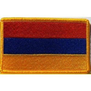 Fast Service Designs Airsoft Morale Patch 1 Armenia Flag Patch with Hook & Loop Travel Patriotic Morale Gold Border Armenian MC Biker Shoulder Emblem