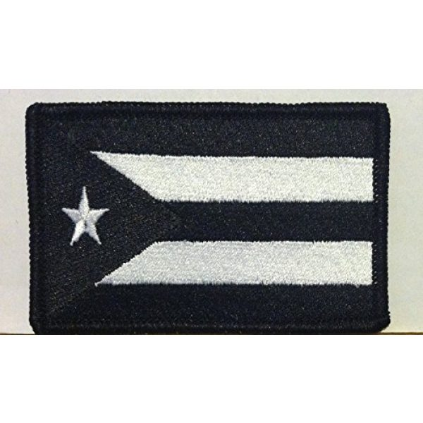 Fast Service Designs Airsoft Morale Patch 1 PUERTO RICO Flag Embroidered Iron-on Patch Black & White Morale Military Emblem Black Border