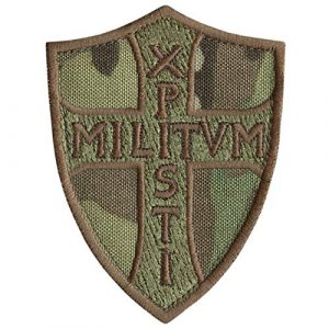 LEGEEON Airsoft Morale Patch 1 LEGEEON Multicam Knights Templar Chi Rho Xpisti Militvm Soldiers of Christ Crusader Cross Tactical Morale Fastener Patch