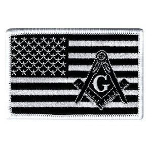 Cypress Collectibles Embroidered Patches Airsoft Morale Patch 1 Masonic Black American Flag Patch Embroidered Iron-On Freemason Square Compass