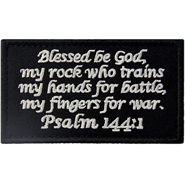 EmbTao Airsoft Morale Patch 1 Tactical Psalm 144:1 BNW Patch Combat Badge Morale Applique Embroidered Fastener Hook & Loop Emblem