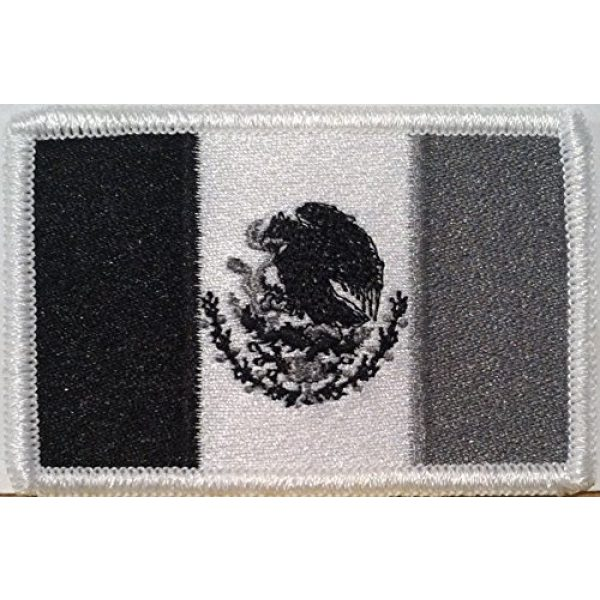 Fast Service Designs Airsoft Morale Patch 1 Mexico Flag Embroidered Patch with Hook & Loop Travel Morale Patriotic Aguila Eagle Mexico Shoulder Mexican Emblem Black, White & Gray Version #530