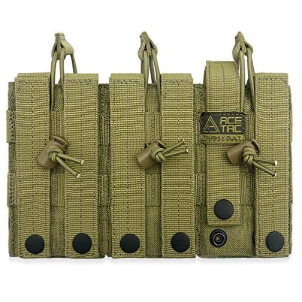 AceTac Gear Tactical Pouch 3 AceTac Tactical Triple Open Top Mag Pouch Mil-Spec Nylon Magazine Holder for with Adjustable Bungee Straps for Easy Carry and Use, Fit Pmag Lancer Ruger ProMag UTG D&H Mission First and More