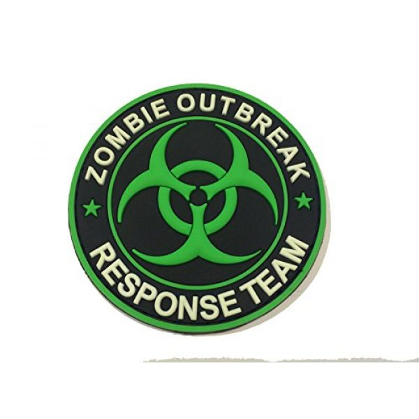 Britkit Airsoft Morale Patch 1 Green PVC Glow in the Dark Zombie Hunting Apocalypse Response Team Permit Tactical Morale Patch(hook/loop) Backed