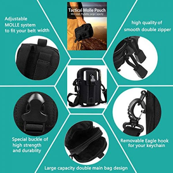 JASLITE Tactical Pouch 6 JASLITE Tactical Molle EDC Pouch, Utility Pouch Bags 1000D Multipurpose Utility Gadget Belt Waist Bag,with Cell Phone Holster Holder, Shoulder Strap