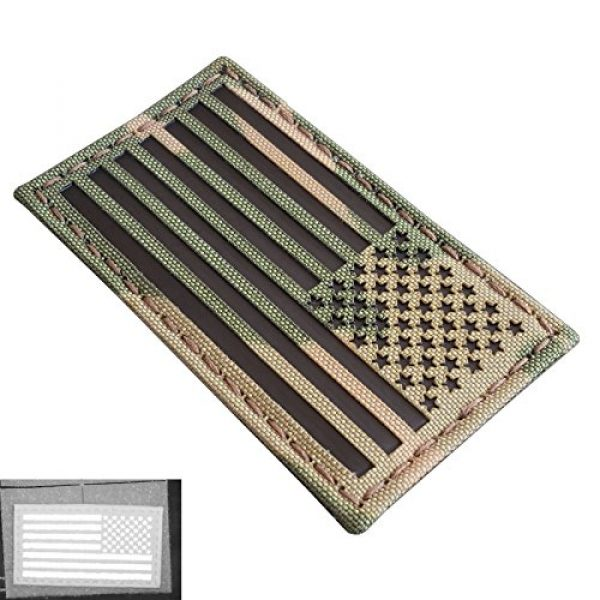 Tactical Freaky Airsoft Morale Patch 1 Multicam Infrared IR USA American Reversed Flag 3.5x2 IFF Tactical Morale Fastener Patch