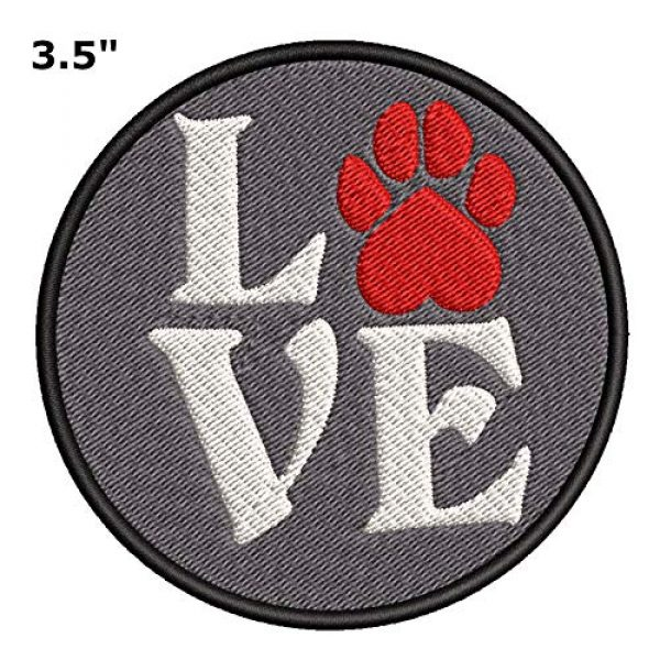 """Appalachian Spirit Airsoft Morale Patch 2 Love Red Paw Print Dog Breeds Canine 3.5"""" Embroidered Patch DIY Iron-on or Sew-on Decorative Applique Pug Labrador Lab Retriever German Shepherd Bulldog Beagle Poodles Dachshunds Cat Tiger Lion"""