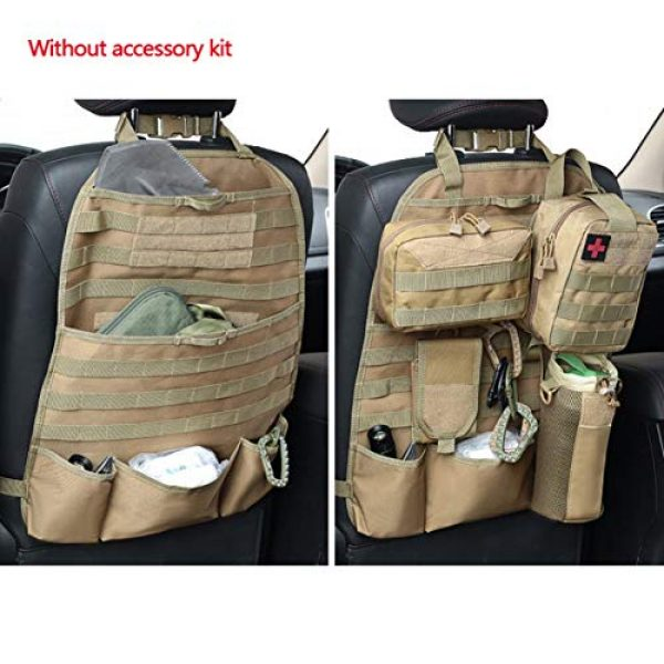 Autotipps Tactical Pouch 2 Autotipps MOLLE Tactical Car Seat Back Organizer Vehicle Panel Car Seat Cover Protector Universal Fit Hunting Bags with 3 Storage Pouch