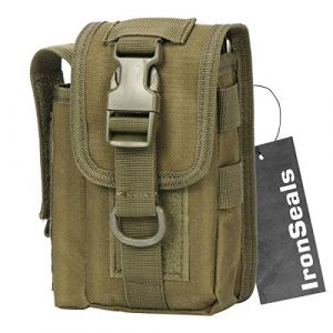 IronSeals Tactical Pouch 1 IronSeals Durable Nylon Smartphone Holster Outdoor Tool Waist Pouch Case with Belt Loop & Belt Latch for Accessories & Smartphones and Flashlight