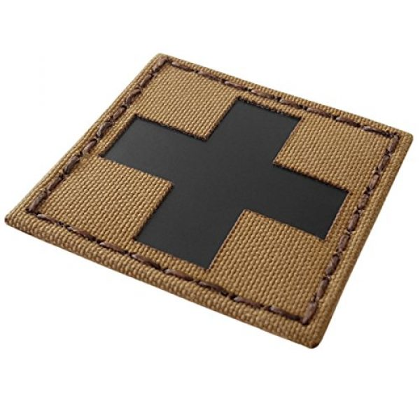 Tactical Freaky Airsoft Morale Patch 4 Red Cross Coyote Brown Tan Infrared IR MED Medical EMS EMT 2x2 Tactical Morale Touch Fastener Patch