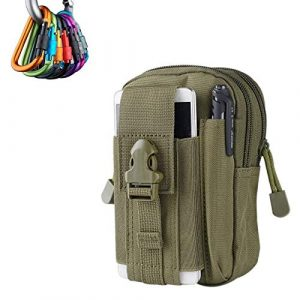 Meanhoo Tactical Pouch 1 Tactiacal Molle Pouch for Men Women Kids, 1 Pcs Small Military Backpack Attachments Compact EDC Cell Phone Gear Bag Army Survival Pack for Hiking, Camping, Trekking, Ruuning, Hunting, Climbing, Khaki