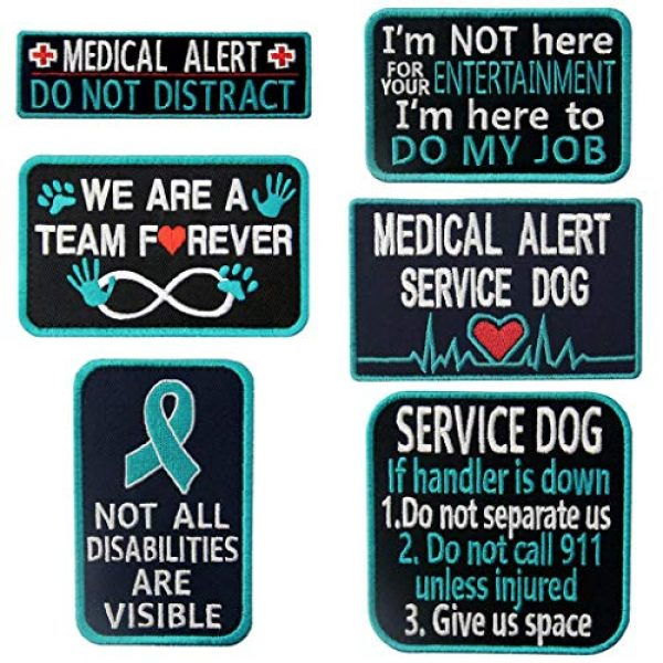 TailWag Planet Airsoft Morale Patch 1 Service Dog Medical Not All Disabilities are Visible Alert Vest/Harnesses Tactical Morale Patch Embroidered Badge Fastener Hook & Loop Emblem, 6 Pcs, Blue