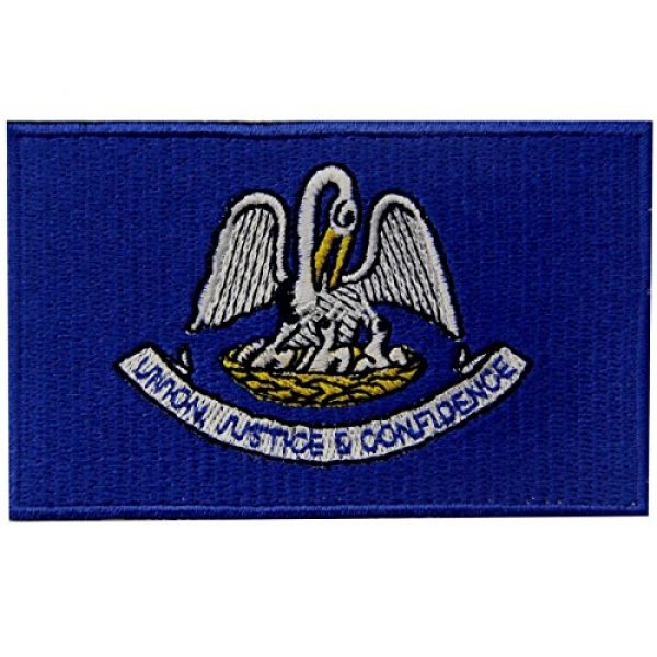 EmbTao Airsoft Morale Patch 1 Louisiana State Flag Embroidered Emblem Iron On Sew On LA Patch