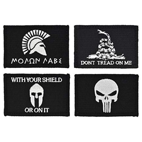 Great 1 Products Airsoft Morale Patch 1 Tactical-Black Flag Patch 4-Pack Set, 2x3 inch, Embroidered, Hook and Loop, Military and Tactical Accessory for Clothing-Jackets-Hats-Backpacks (Set 1)