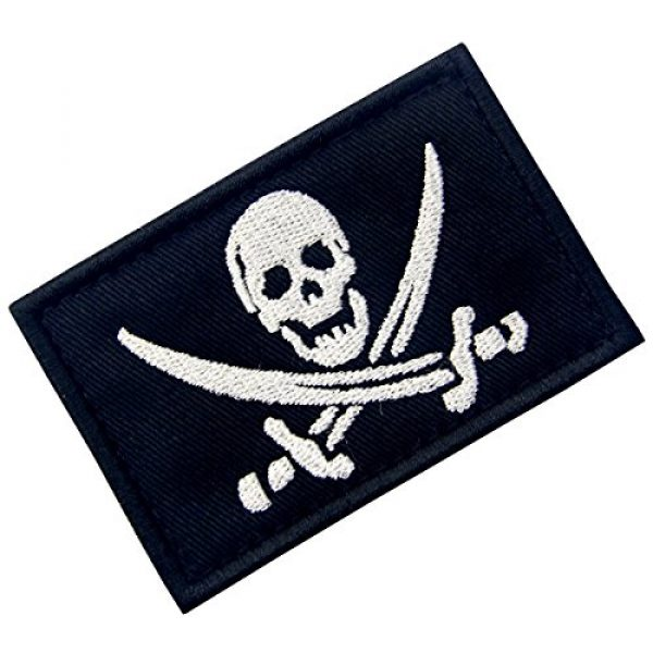 EmbTao Airsoft Morale Patch 3 Pirate Flag Military Morale Fastener Hook & Loop Patch - White & Black