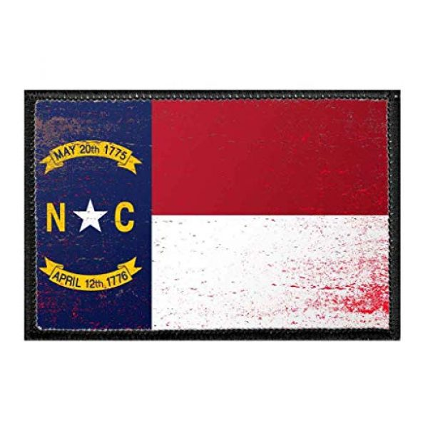 P PULLPATCH Airsoft Morale Patch 1 North Carolina State Flag - Color - Distressed Morale Patch | Hook and Loop Attach for Hats, Jeans, Vest, Coat | 2x3 in | by Pull Patch