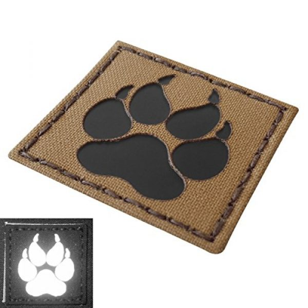 Tactical Freaky Airsoft Morale Patch 5 Coyote Brown Tan Infrared IR K9 Dog Handler Paw K-9 2x2 Tactical Morale Touch Fastener Patch