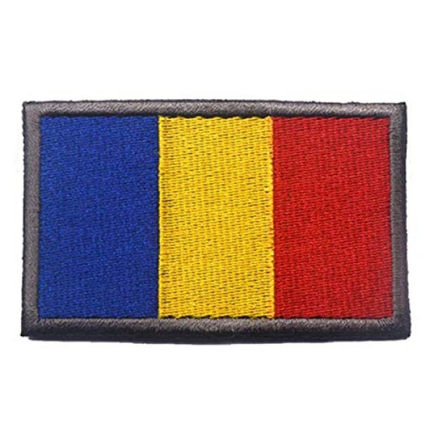 Tactical Embroidery Patch Airsoft Morale Patch 2 2pcs Romania Flag Embroidery Patch Military Tactical Morale Patch Badges Emblem Applique Hook Patches for Clothes Backpack Accessories